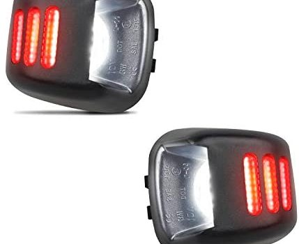HERCOO LED License Plate Light White Lamp with Red OLED Neon Tube Compatible with Frontier Armada Titan Xterra, Suzuki Equator Pickup Truck, Pack of 2