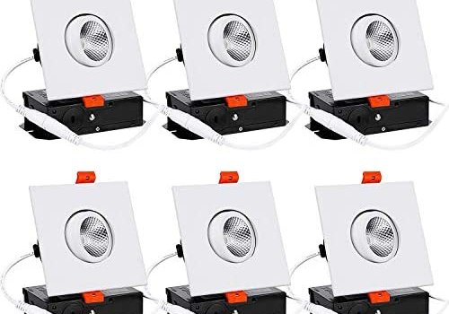 TORCHSTAR 3 Inch Gimbal LED Recessed Light with J-Box, Square Downlight Dimmable, 7W (50W Eqv.), CRI 90+, 4000K Cool White, ETL/Energy Star, 5 Years Warranty, White, Pack of 6