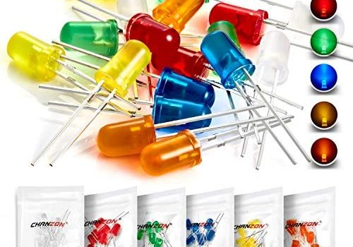 Chanzon 60 pcs(6 colors x 10 pcs) 5mm LED Diode Lights Assortment Kit Pack (Diffused Round Lens DC 3V 20mA) Lighting Bulb Lamp Assorted Variety Color Electronics Components Light Emitting Diodes Parts
