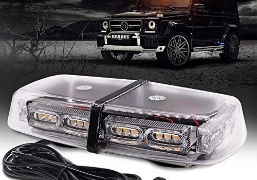 ASOKO Amber Strobe Light for Trucks, Emergency Lights for Vehicles, 36LED Safety Warning Lights with 16 Flashing Modes,12″ Yellow Beacon Light for Construction Cars Snow Plow, DC12/24V, Magnetic Base