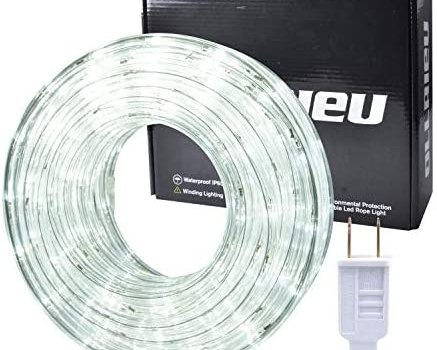 ollrieu LED Rope Lights Outdoor White 50ft Waterproof Flexible Rope Lighting Indoor Connectable 110V 6000K 360 LEDs UL Listed Power Plug-in Decorative Light Strip for Patio Bedroom Deck Camping