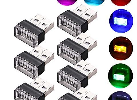 Lipctine USB LED Car Interior Atmosphere Lamp, Night Led Decoration Mini USB Light, Ambient Lighting Kit, Charging for Cars, Interior Led Lights White Blue Red Yellow Green Pink Ice Blue (7 Colors)