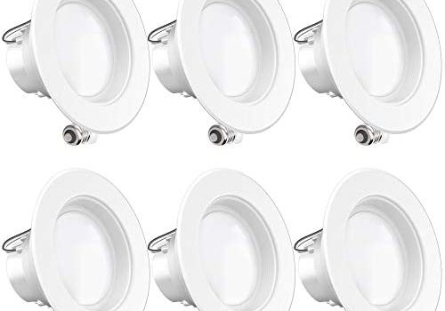 Sunco Lighting 6 Pack 4 Inch LED Recessed Downlight, Baffle Trim, Dimmable, 11W=60W, 4000K Cool White, 660 LM, Damp Rated, Simple Retrofit Installation – UL + Energy Star