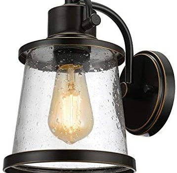 Charlie Outdoor Indoor Wall Sconce, LED Bulb Included, Oil Rubbed Bronze, Clear Seeded Glass Shade,44127