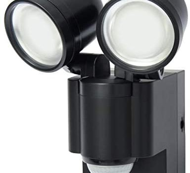 LB1403QBK Battery Operated LED Motion Security Light, Twin Adjustable Heads Includes Post Mount Bracket, Black