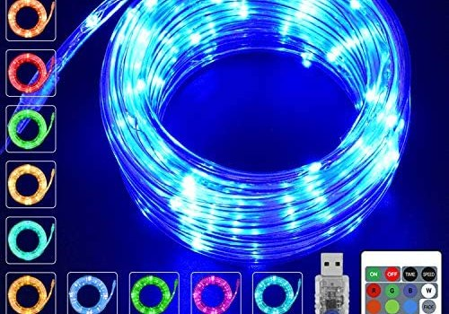 KNONEW LED Rope Lights 16 Colors Changing 100 LED 33ft USB Powered Fairy Rope Light with Remote, Indoor Decorative Lighting for Wedding Christmas Waterproof Outdoor Garden Stairs Balcony Party