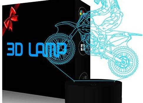 YKL World Motocross 3D Lamp, LED Illusion Motorcycle Night Light for Kids Room Decor USB 7 Color Changing Toys Birthday Gifts for Father Boys Sports Guy