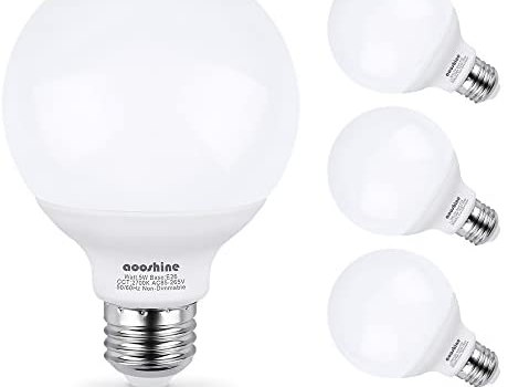 G25 LED Bulb, Aooshine 50W Incandescent Bulb Equivalent Soft Warm White 2700K 5 Watts E26 Base Globe Vanity Makeup Mirror Lights Bulb, Non-dimmable(Pack of 4)