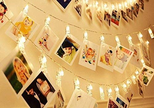 Dopheuor Photo Clip String Lights LED Battery Operated Starry Fairy Copper String Lights with Clips Warm White for Pictures Bedroom Wall Patio Halloween Thanksgiving Christmas Party Wedding Décor