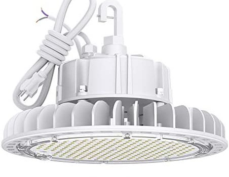 HYPERLITE White 4000K High LED Low Bay Shop Light 60W 8,100lm CRI>80 1-10V Dimmable 5′ Cable with 110V Plug Hanging Hook Safe Rope UL/DLC Approved for Retail Stores Residential