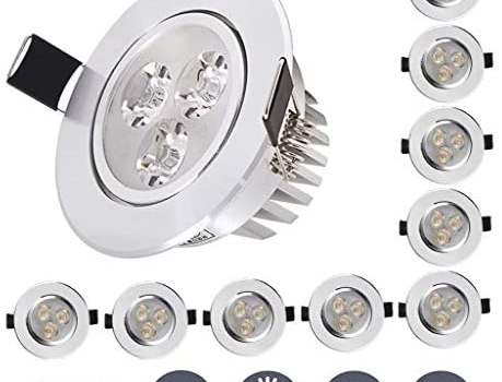 EFXPRR Led Ceiling Recessed Spotlight Light Warm White 3000k Downlight 3w 110lm Ac85-265v Round Aluminum Cut Out 55-60mm for Living Room Bedroom Kitchen[Energy Class A++]