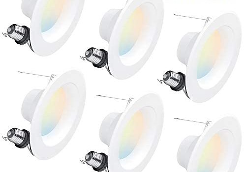 Hyperikon 6 inch LED Recessed Lighting, Color Temperature Changing, 5CCT 2700K-5000K, 14W Gimbal Downlight, Dimmable, UL, Energy Star, 6 Pack