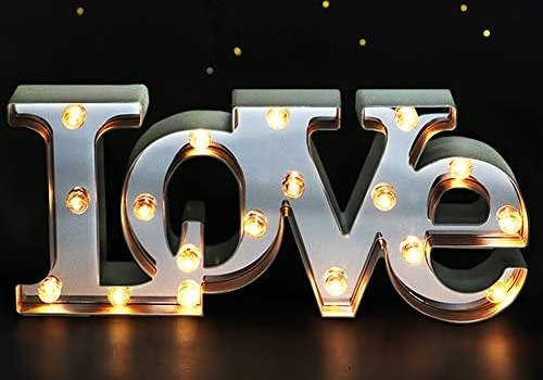 Bright Zeal 16″ x 7″ Large Love Decor for Bedroom LED Marquee Sign (Mirror Front) – Love Wall Signs for Home Decor Wall Table Decor – Wedding Decorations Lights – Romantic Decorations Special Night