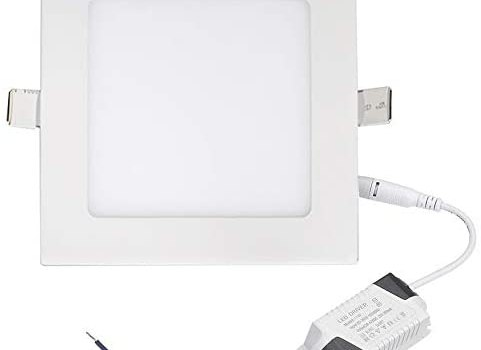 Aolyty 15W Ultra Thin LED Ceiling Panel Light 7″ Recessed Square Downlight for Home, Office, Mall, Low Energy Consumption Non Dimmable 6000K