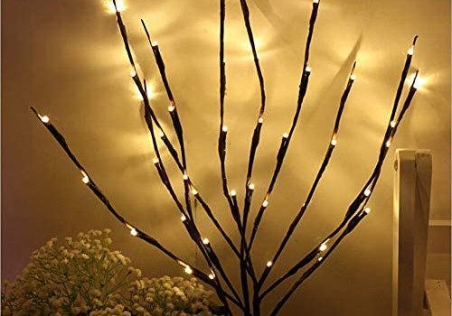 NAWEDA LED Branches Lights Artificial Willow Twig Lights for Decoration Warm White Battery Powered 20 Inches 20 LED – 2 Pack