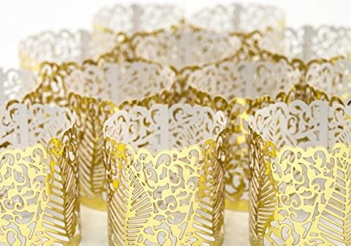 Frux Home and Yard Votive Candle Holders – Flameless Tea Light Votive Wraps – 48 Gold Colored Laser Cut Decorative Wraps Flickering LED Battery Tealight Candles (not Included)