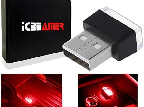 ICBEAMER [ Color:Red Universal USB Interface Plug-in Miniature Night Light LED Car Interior Trunk Ambient Atmosphere