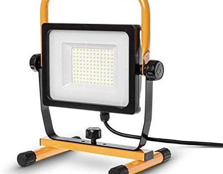 Home Zone Security LED Work Light – 7,000 Lumen Corded Work Lamp with Attachable Stand, 70W ETL Certified
