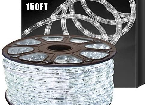 SURNIE Outdoor Rope Lights Waterproof 150ft Led Light Rope 110V 6500k Daylight White Led Strip Lights Cuttable Connectable Decorative Lighting Indoor Outside Use