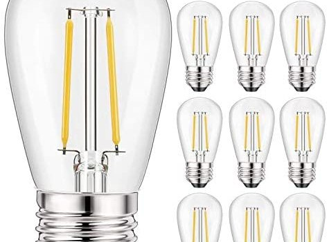 10 Pack S14 LED Replacement Bulbs for String Lights- 2 Watts Warm White Edison Light Bulbs E26 Candelabra Screw Base Clear Plastic Bulbs for Commercial Grade Outdoor Patio Garden Vintage String Lights