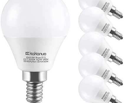 E12 LED Bulb, Kakanuo 6W G45 LED Light Bulb with Daylight White 5000K and Standard E12 Base, Equivalent to 60W E12 G45 Bulb for Nightlight, Chandelier, Lamp and Home Lighting, Non-dimmable – Pack of 6