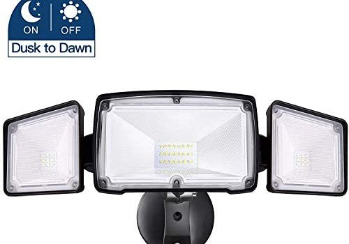 Amico 30W Dusk to Dawn LED Flood Light – 3 Head Security Light Outdoor, Metal Head 5000K Daylight White 3500 Lumens IP65 Waterproof, Black Exterior Wall Flood Light Outdoor with Photocell