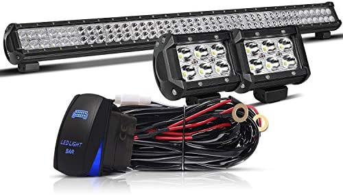 TURBOSII LED Light Bar 44 Inch 288W Spot Flood Combo LED Off Road Lights  4″ LED Cube Work Light Wiring Harness for Polaris Truck GMC ATV Dodge Toyota Jeep Cars Lamp