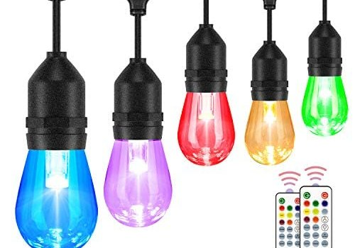 2-Pack 48FT Color Changing Outdoor String Lights, RGB LED String Light with 30+5 E26 Edison Bulbs, Dimmable Commercial Patio café Backyard Garden Lights, 2 Remote Controls, Waterproof, 96FT Total