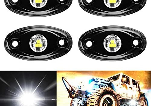 Amak 4 Pods LED Rock Light Kit for JEEP ATV SUV Offroad Car Truck Boat Underbody Glow Trail Rig Lamp Underglow LED Neon Lights Waterproof – White