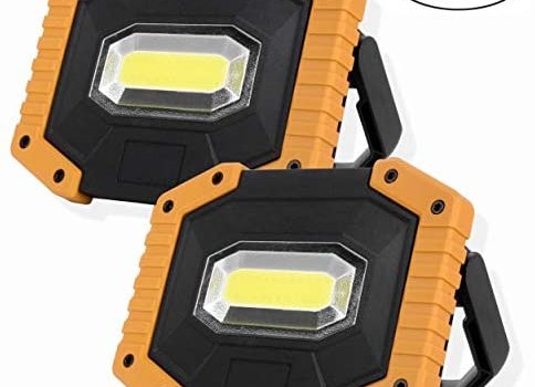 OTYTY COB 30W 1500LM LED Work Light 2 Pack, Rechargeable Portable Waterproof LED Flood Lights for Outdoor Camping Hiking Emergency Car Repairing and Job Site Lighting (W841 Yellow)