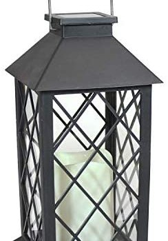 Sunnydaze Concord Outdoor Solar LED Decorative Candle Lantern – Rustic Farmhouse Decor for Patio, Porch, Deck and Garden – Tabletop and Hanging Outside Light – 11-Inch