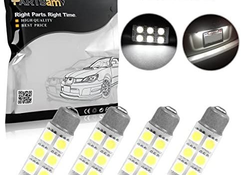 Partsam 44mm Festoon LED Light Bulbs Cap Lamps Car Interior Dome Map Reading Lights 561 562 564 570 571 577 578 211-2 212-2 214-2 Bulbs – White 4Pcs