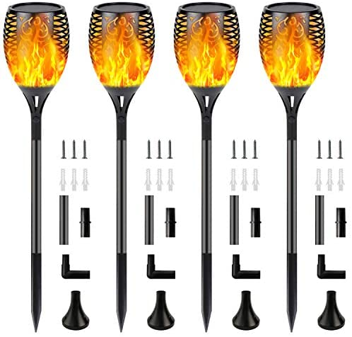 4-Pack Outdoor Solar Lights with Flickering Flames, Upgraded Ultra-Bright 96 LED Solar Flame Torch Lights Outdoor Waterproof Decorative Lights for Patio, Yard, Pathway, Garden, Landscape