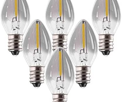 E12 Base Candelabra Bulbs Edison Bedside Lamps Low Power 0.5 Watt = 5W Incandescent C7 Mini Candle Bulb Smoke Grey Glass LED Filament Bulb, Cool White 4000K, Non-Dimmable, 6 Pack