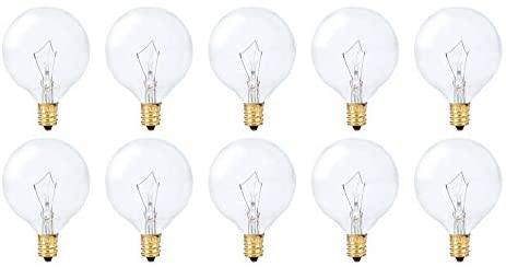 Simba Lighting Small Globe G16.5 Round Bulb 25W E12 Candelabra Base (10 Pack) for Chandelier, Ceiling Fan, Decorative Vanity Lights, Sconce, Scentsy Wax Warmer, Clear Glass 110V 120V, 2700K Warm White