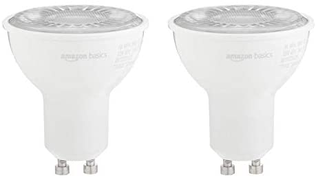 AmazonBasics 50W Equivalent, 3000K White, Dimmable, 10,000 Hour Lifetime, MR16 (GU10 Base) LED Light Bulb | 2-Pack