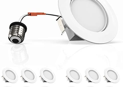 12-Pack 4-inch Dimmable LED Eyeball Downlights, 10W (Replace 50W), Adjustable Beam Angle Eyeball Design, 3000K (Soft White), Voltage: 120V-277V, CRI 90+[High CRI], cETLus, Energy Star & FCC Approved
