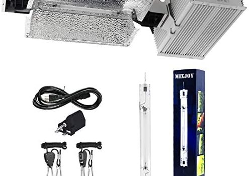 MIXJOY 1000 Watt Double Ended Grow Light System Kits, 2100K Super Lumens DE HPS Bulb, Open Reflector with 120-240V Digital Dimmable Ballast and 1 Pair Rope Ratchet Hanger for Indoor Plant Growing