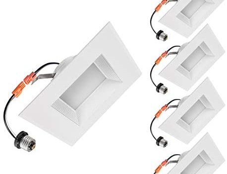 OSTWIN 6 Inch Square Dimmable LED Downlight Recessed Retrofit Lighting Fixture Baffle Trim, LED Ceiling Can Light, 12W (100W Replacement) 1000 Lm, 5000K Daylight, Wet Rated, Energy Star & ETL, 4 Pack