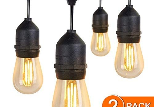 JMEXSUSS 2 Pack 48Ft LED Waterproof Outdoor String Lights with 15 Hanging Sockets Included 16pcs (1 Spare) 1W 2700K Vintage S14 Bulbs for Patio Deck Backyard Cafe Garden Decor