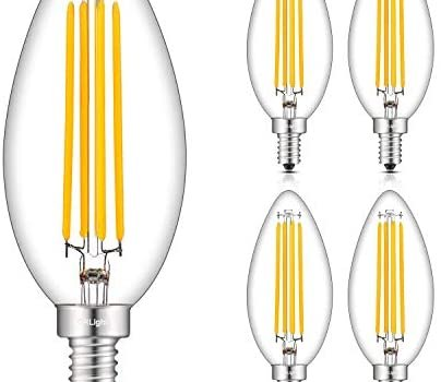 CRLight 8W Dimmable Large LED Candelabra Bulb 80W Equivalent 800LM, 3000K Soft White E12, Lengthened & Enlarged B17 Clear Candle E12 LED Filament Chandelier Light, Smooth Dimming Version, 4 Pack