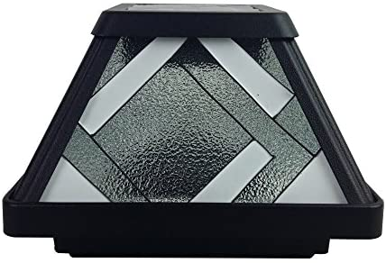 Moonrays 91262 Montclair-Style Premium Output Solar Powered Stained Glass LED Post Cap Light, Black Finish