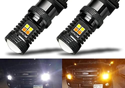 iBrightstar Extremely Bright 3030 Chipsets 3157 4157 3155 3457 Switchback LED Bulbs with Projector Replacement for Daytime Running Lights/DRL and Turn Signal Lights,White/Amber