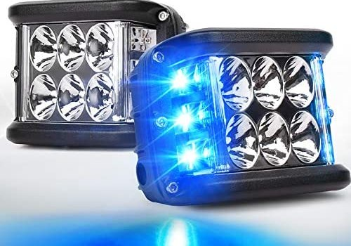 OVOTOR Side Shooter LED Lights with Dual Side Blue DRL with Strobe, 30W Off Road Flood Spot Driving Light Pods for Jeep Truck SUV ATV UTV 4×4