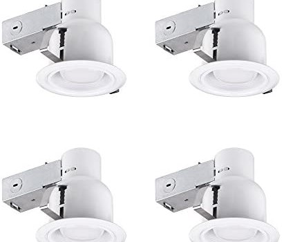4″ Rust Proof Indoor/Outdoor Ridged Baffle Round Trim Recessed Lighting Kit 4-Pack, White, Easy Install Push-N-Click Clips, 3.88″ Hole Size,90958