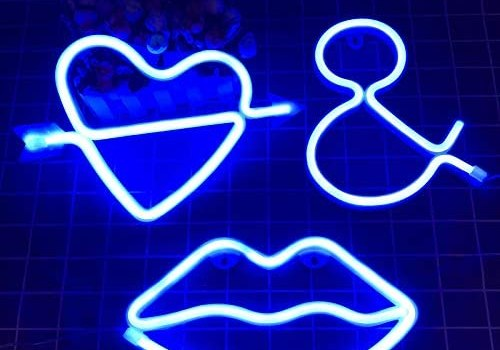 Neon Light Sign Lip LED Signs Cupid Heart Decor Lamp Letter Art Decorative Wall Night Lights for Girls Bedroom Romantic Party Powered by USB/Batteries(3pcs Set) (Blue)
