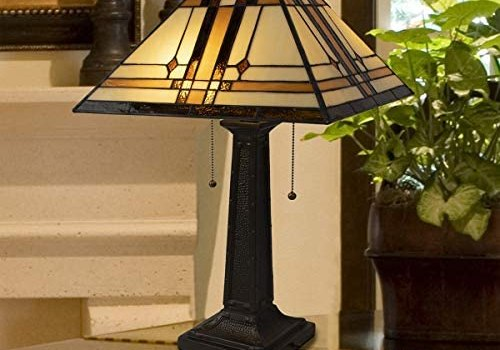 Lavish Home A1000B1 Tiffany Style Table Lamp – Mission Design Art Glass Lighting 2 LED Bulbs Included-Vintage Look Handcrafted Accent Decor, Various