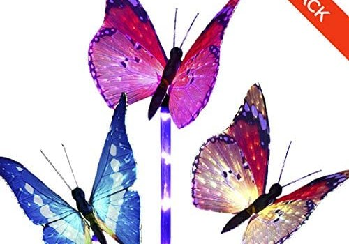 Garden Solar Lights Outdoor – 3 Pack Light Sensor Wireless Stakes Multi-Color Changing LED Waterproof Fiber Optic Butterfly Decorative with Purple LED Light for Landscape Pathway Patio by MILKYCREW
