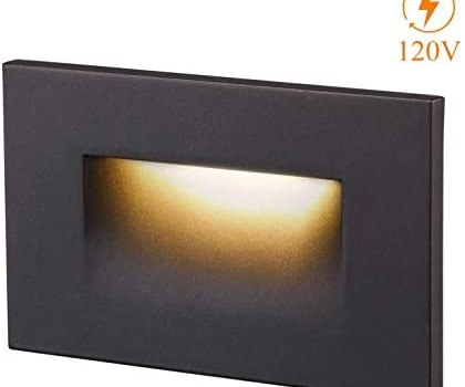 Cloudy Bay 120V Dimmable LED Step Light, 3000K Warm White 3W 100lm,Indoor/Outdoor Stair Light,Oil Rubbed Bronze Finish