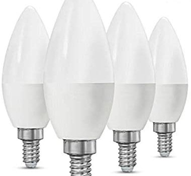 CTKcom 5W E14 Base LED Candelabra Bulbs(4 Pack)- 60Watt Light Bulbs Equivalent E14 Base C37 Daylight White 6000K LED Candle Light Bulb,Ceiling Fan Lights,Decorative LED Bulb,650LM,UL-Listed,AC 85-265V